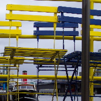 Yellow and Blue chairs on the Williamstown Ferry...