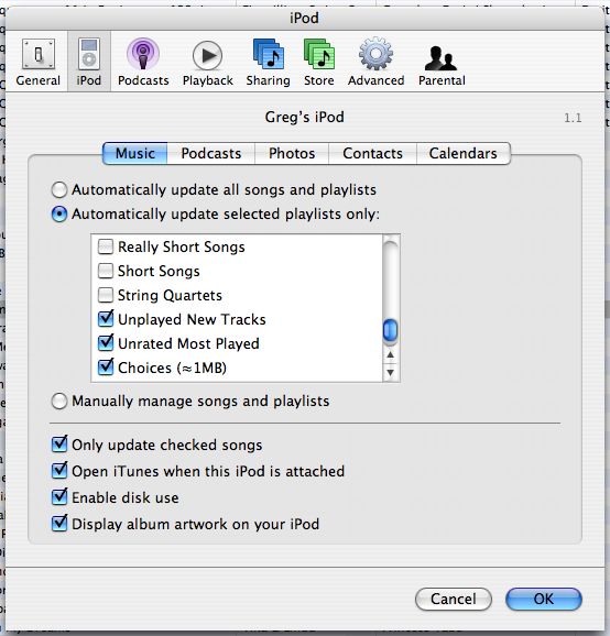 playlist settings in iTunes